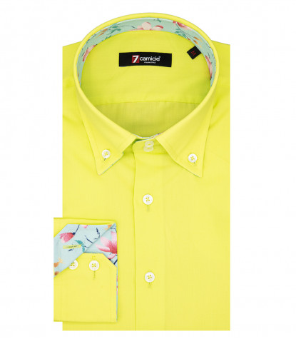 Camicia Uomo Roma 2 bottoni Button Down Popeline Stretch Giallo