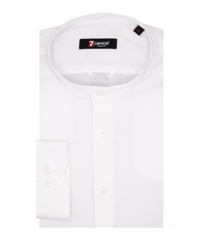 Caravaggio Men's Shirt 1 Button Korean Collar Popeline Stretch White