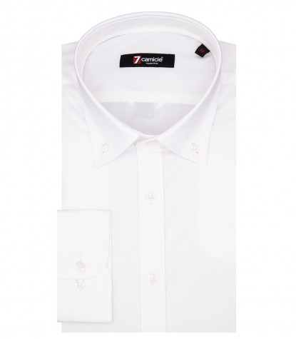 Camicia Uomo Leonardo 1 bottone Button Down Popeline Stretch Bianco
