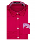 1 Button French Round French Popeline Stretch Fuchsia Girl Shirt