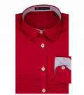 1 Button French Round Stretch Popeline Girl Shirt Red