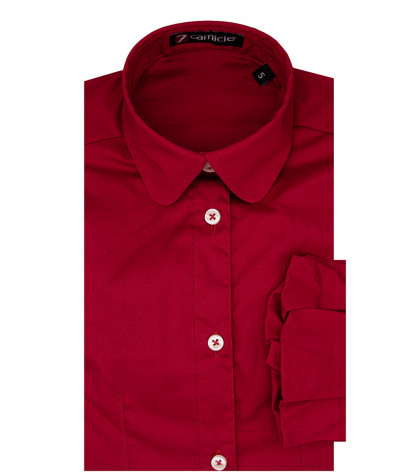 1 Button Round Stretch Popeline Girl Shirt Red