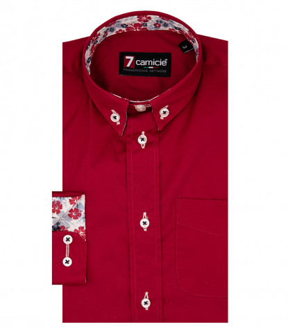 2 Buttons Bdwn Popeline Stretch Red Kid Shirt