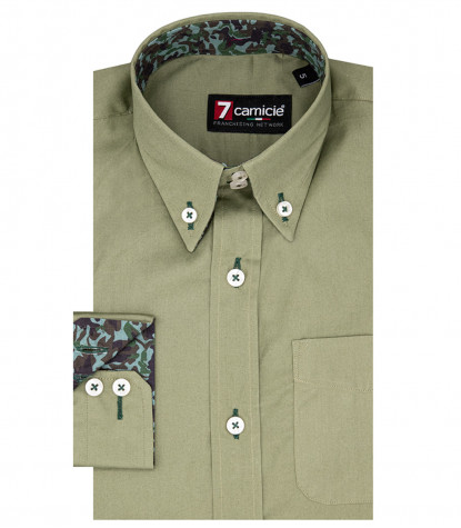 2 Buttons Bdwn Stretch Popeline Kid Shirt Green