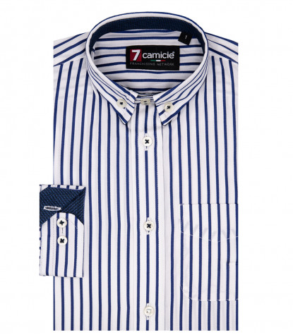 Shirt Francesco Poplin White and Blue