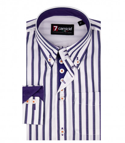 Shirt Francesco Poplin WhiteViolet