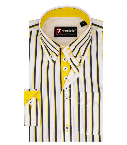 Shirt Francesco Poplin White and Yellow
