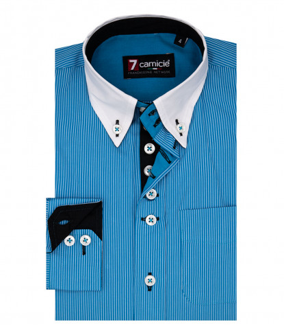 Shirt Francesco Poplin Turquoise White