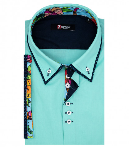 Donatello Man Shirt 1 Button Down Double Collar Short Sleeve Popeline Emerald Green