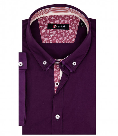 Donatello Man Shirt 1 Button Down Double Collar Short Sleeve Popeline Purple