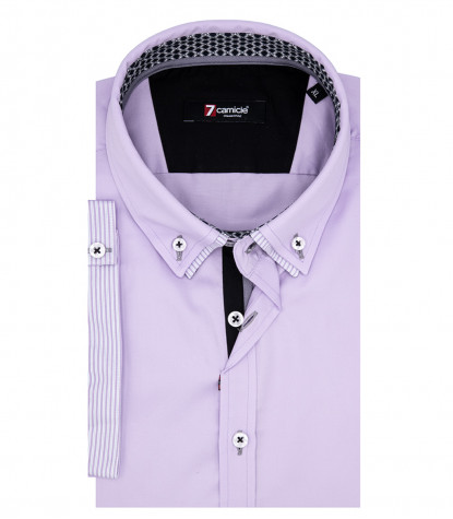 Donatello Man Shirt 1 Button Down Double Collar Short Sleeve Satin Lilac