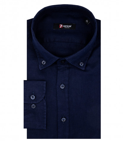 Camicia Uomo Leonardo 1 Bottone Button Down Lino Blu