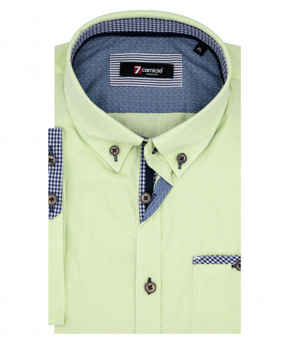 Man Shirt Leonardo 1 Button Down Short Sleeve Oxford Green