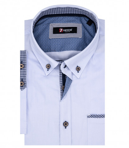Man Shirt Leonardo 1 Button Down Short Sleeve Oxford Light Blue
