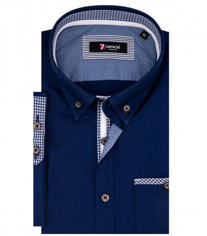 Man Shirt Leonardo 1 Button Down Short Sleeve Oxford Blue