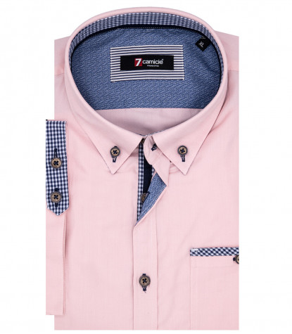 Chemise Homme Leonardo 1 Button Down Manches Courtes Oxford Rose