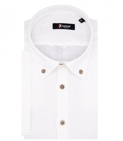 1 Button Button Down Short Sleeve Leonardo Man Shirt in White Linen