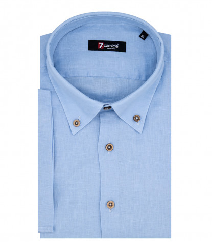 Leonardo 1 Button Button Down Short Sleeve Shirt in Light Blue Linen