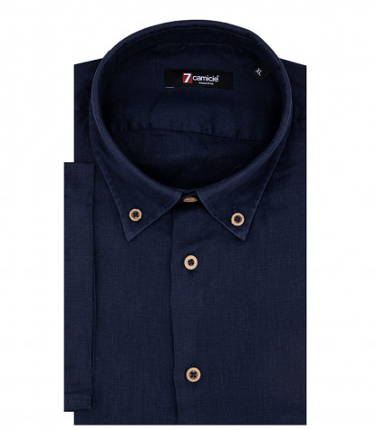 Herrenhemd Leonardo 1 Button Button Down Kurzarm Blue Linen