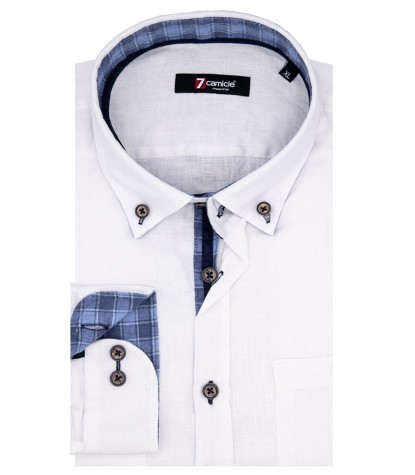Camicia Uomo Leonardo 1 Bottone Button Down Lino Bianco