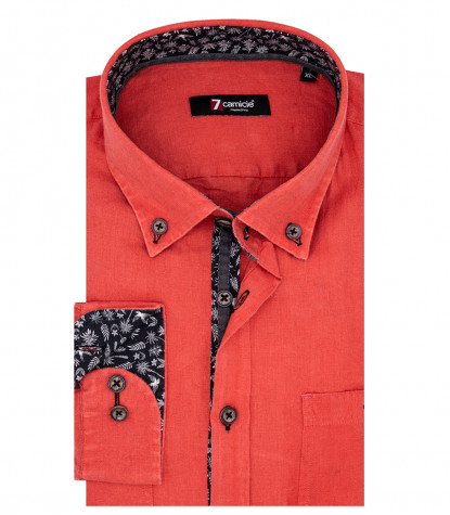 Leonardo 1 Button Button Down Red Linen Man Shirt