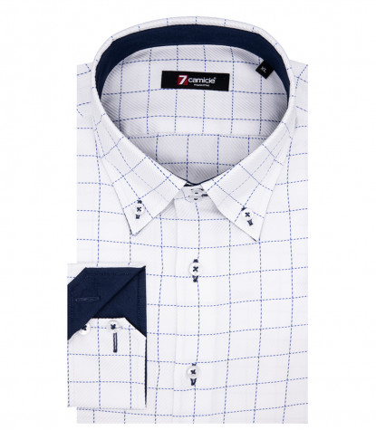 Camicia Uomo Roma 2 Bottoni Button Down Popeline Quadro Medio Bianco