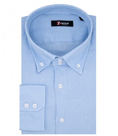 Rome Man Shirt 2 Buttons Button Down Light Blue Linen
