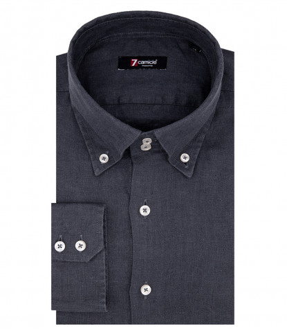 Roma 2 Buttons Button Down Linen Dark Gray Man Shirt