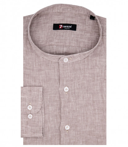 Caravaggio 1 Button Korean Linen Beige Man Shirt