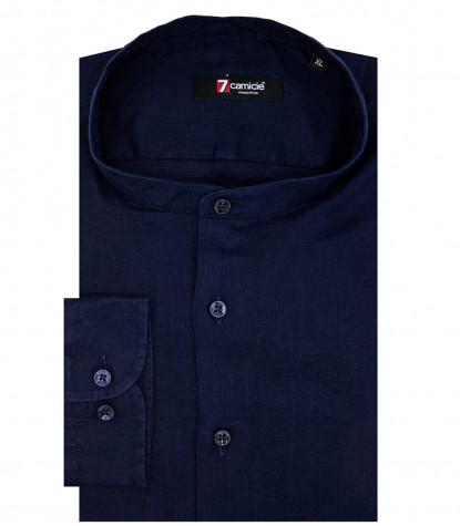 Caravaggio 1 Button Korean Blue Linen Man Shirt