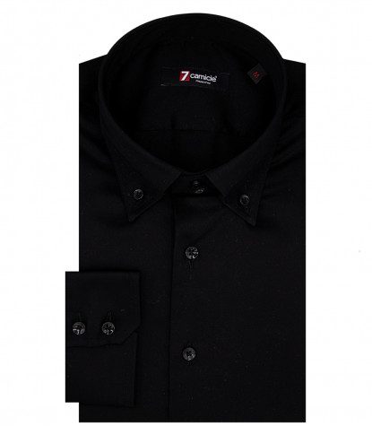 Camicia Uomo 2 Bottoni Button Down Slim Satin Unito Nero