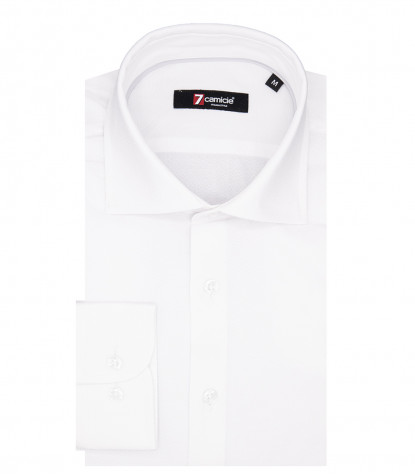 1 Button French Collar Slim Man Shirt Jacquard Pattern White