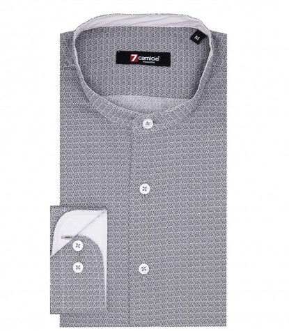Korean Collar Man Shirt Slim Fit Popeline Pattern Grey/Black