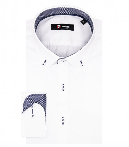 Camicia Uomo 1 Bottone Button Down Slim Satin Unito Bianco
