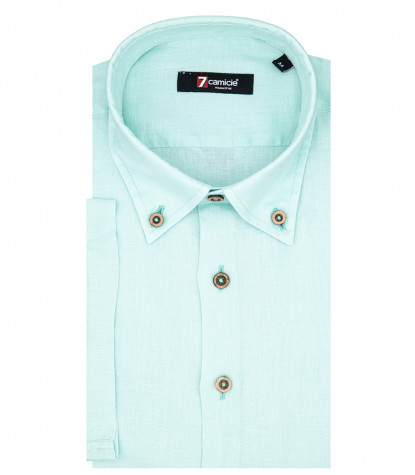 1 Button Bdwn Short Sleeve Slim Man Shirt Solid Linen Turquoise
