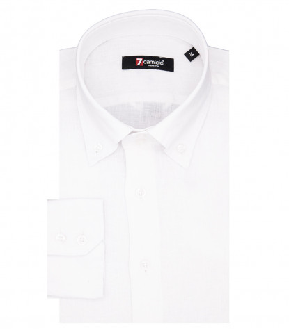Camicia Uomo 2 Bottoni Button Down Slim Lino Unito Bianco