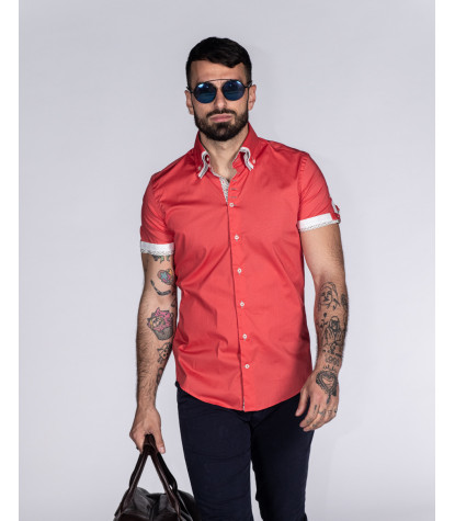 2 button button-down triple collar slim man shirt in stretch solid coral poplin