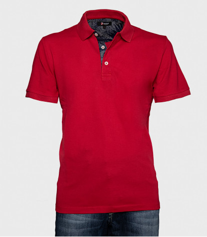 Red Solid Cotton Man Polo Shirt