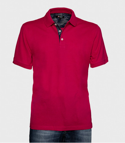 Solid Cotton Polo Shirt Bordeaux Red