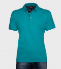 Men's Polo Shirt Solid Cotton Teal Green