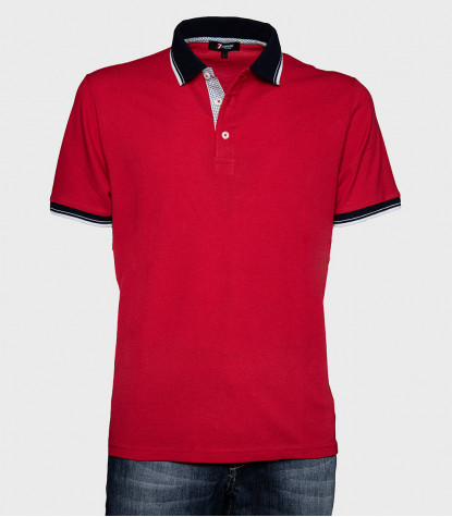 Polo Shirt Cotton Jersey Solid Red