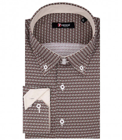 2 Buttons Bdwn Slim Man Shirt Printed Popeline Brown and Mastic