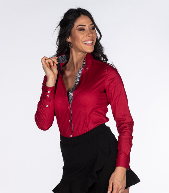 2 button button-down 7 button woman shirt slim stretch poplin red combined