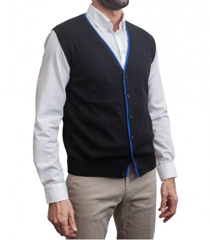 Waistcoat Milano Black and bright blue