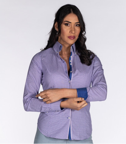 2 Buttons Bdwn Woman Shirt Small Square Popeline White and Orchid