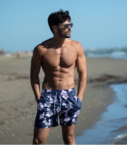 Blue and Pink Floral Patterned Bermuda Men's Swimsuit