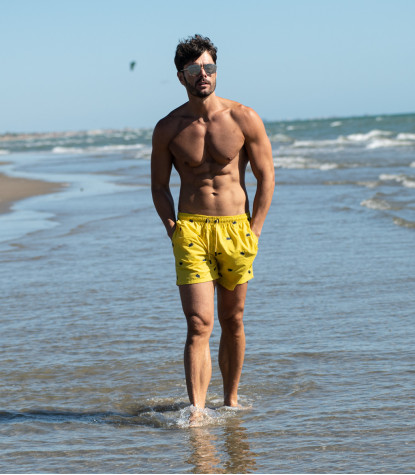 Men's Yellow Swimsuit with Crabs Pattern