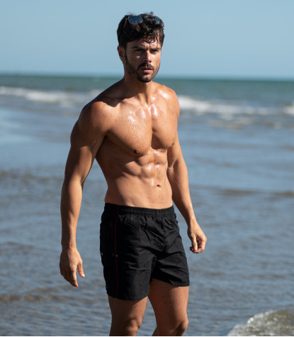 Men's Black Swimsuit with Red detail