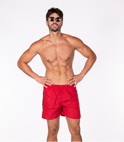 Men's Red Swimsuit with Black detail
