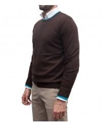 Crew neck sweater Rome brown and sky blue